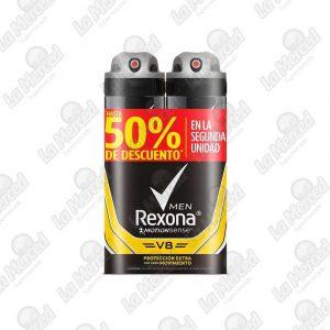DESODORANTE REXONA AEROSOL V8 90GR*2UND
