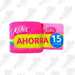 TOALLAS HIGIENICAS KOTEX TELA ULTRAFINA*10+15 DIARIOS*15