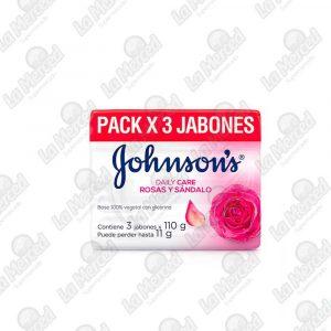 JABON JOHNSON'S ROSAS Y SANDALO*110GR*3UND